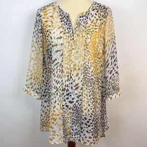 Lane Bryant Sheer Animal Print Tunic Top Flowy 18